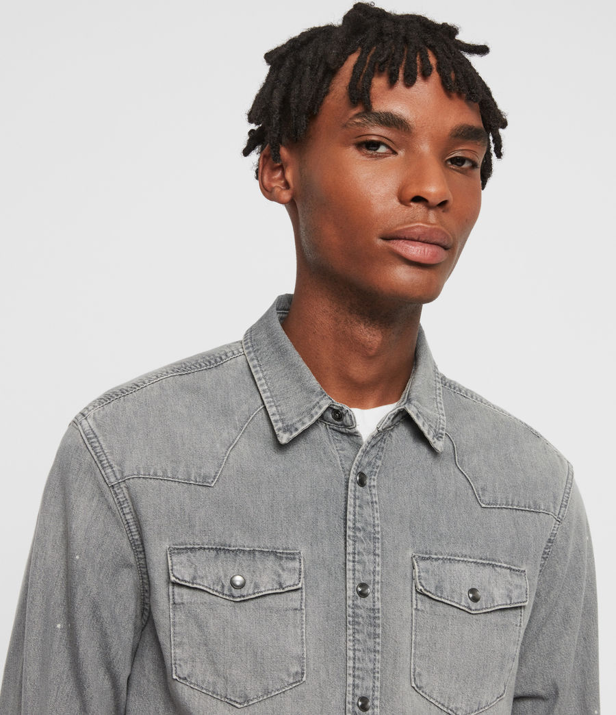 Mens Gino Denim Shirt (grey) - Image 5