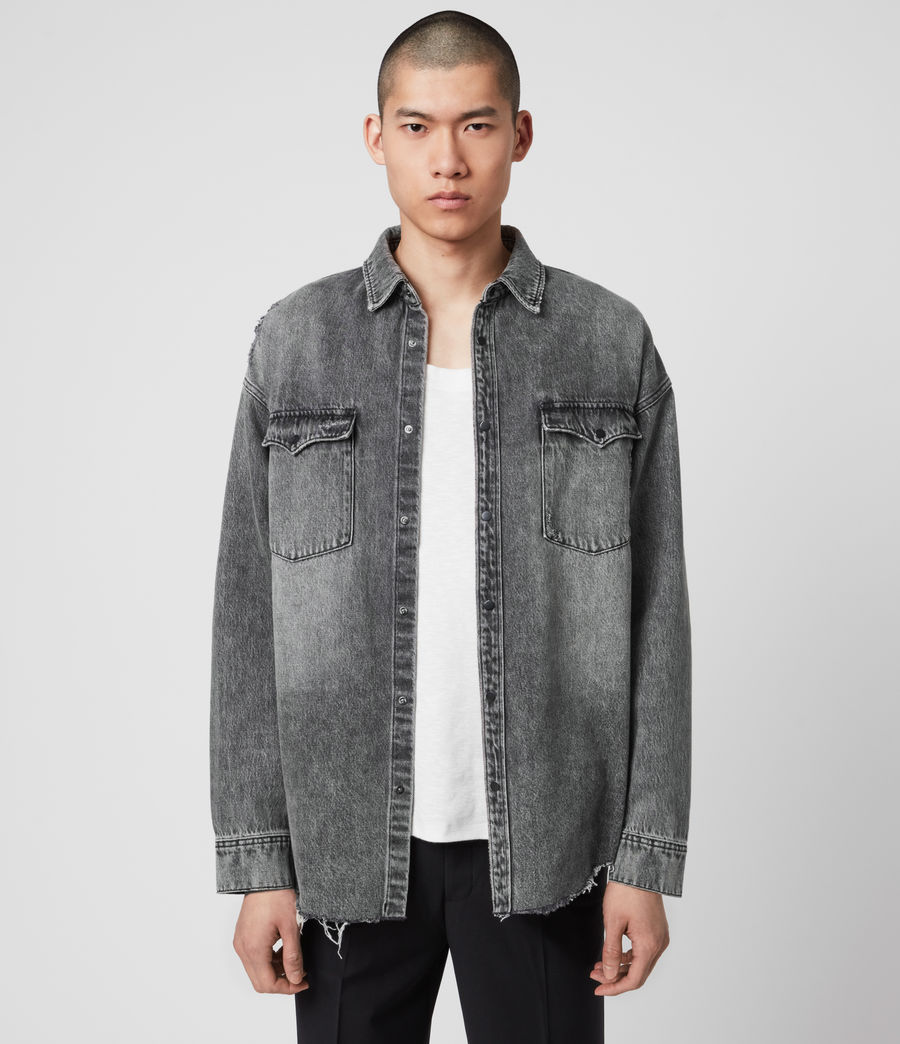 Mens Dore Denim Shirt (washed_black) - Image 5