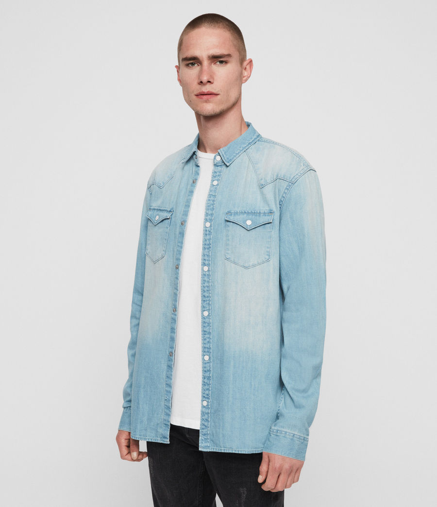 Mens Cardock Denim Shirt (light_indigo_blue) - Image 1