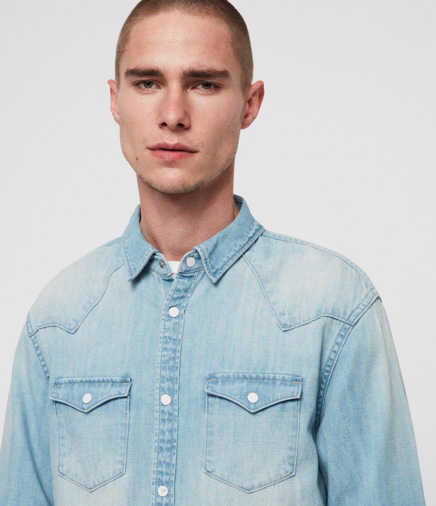 Mens Cardock Denim Shirt (light_indigo_blue) - Image 2