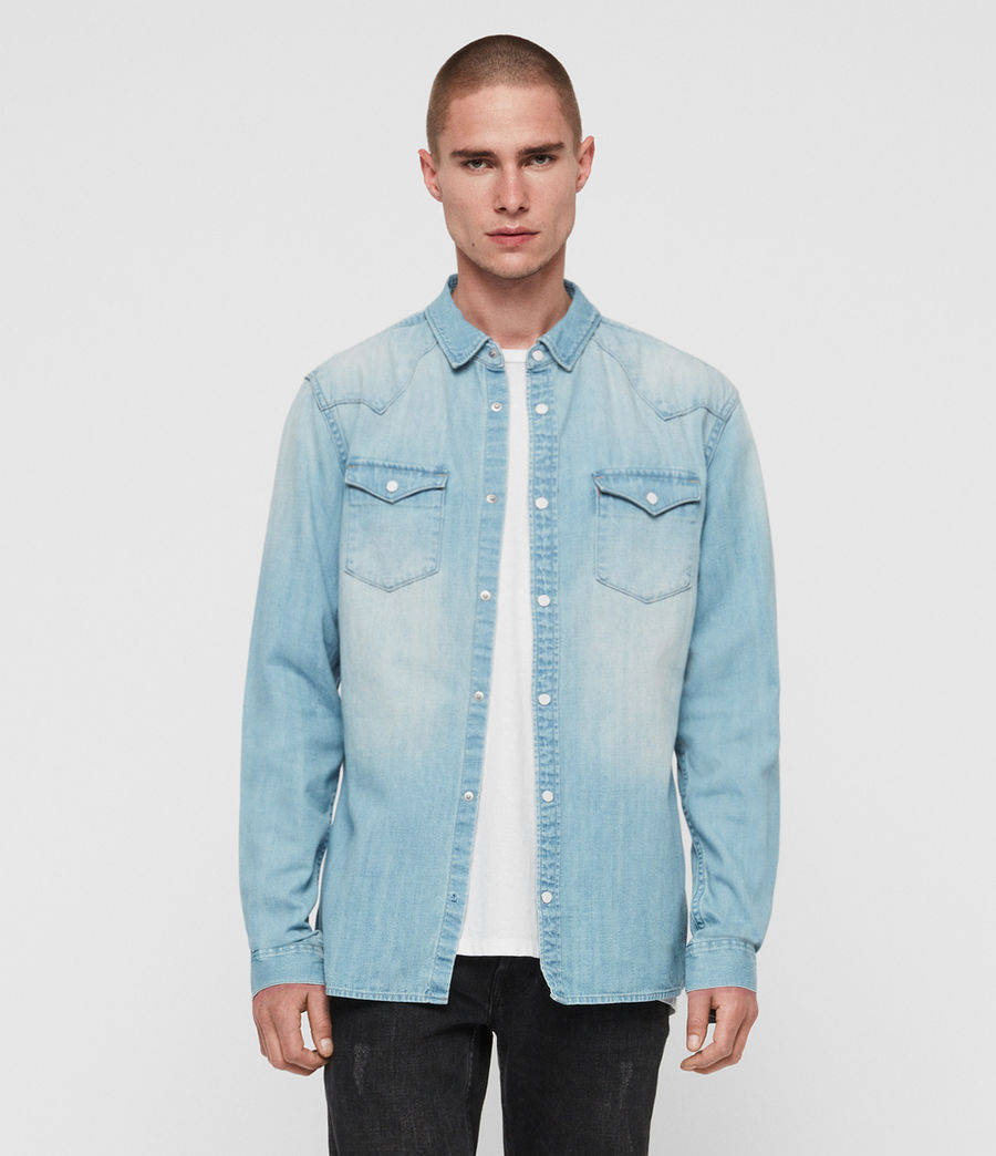 Mens Cardock Denim Shirt (light_indigo_blue) - Image 3