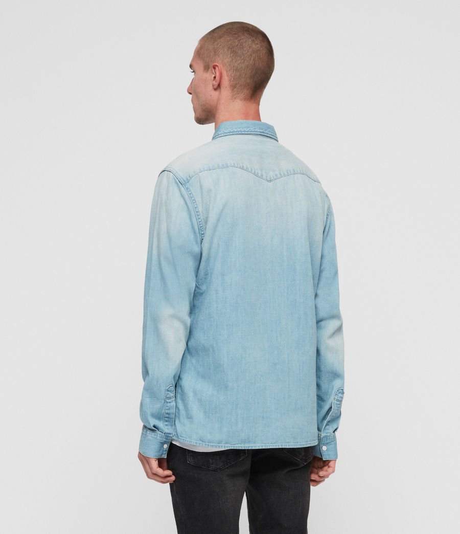 Mens Cardock Denim Shirt (light_indigo_blue) - Image 4