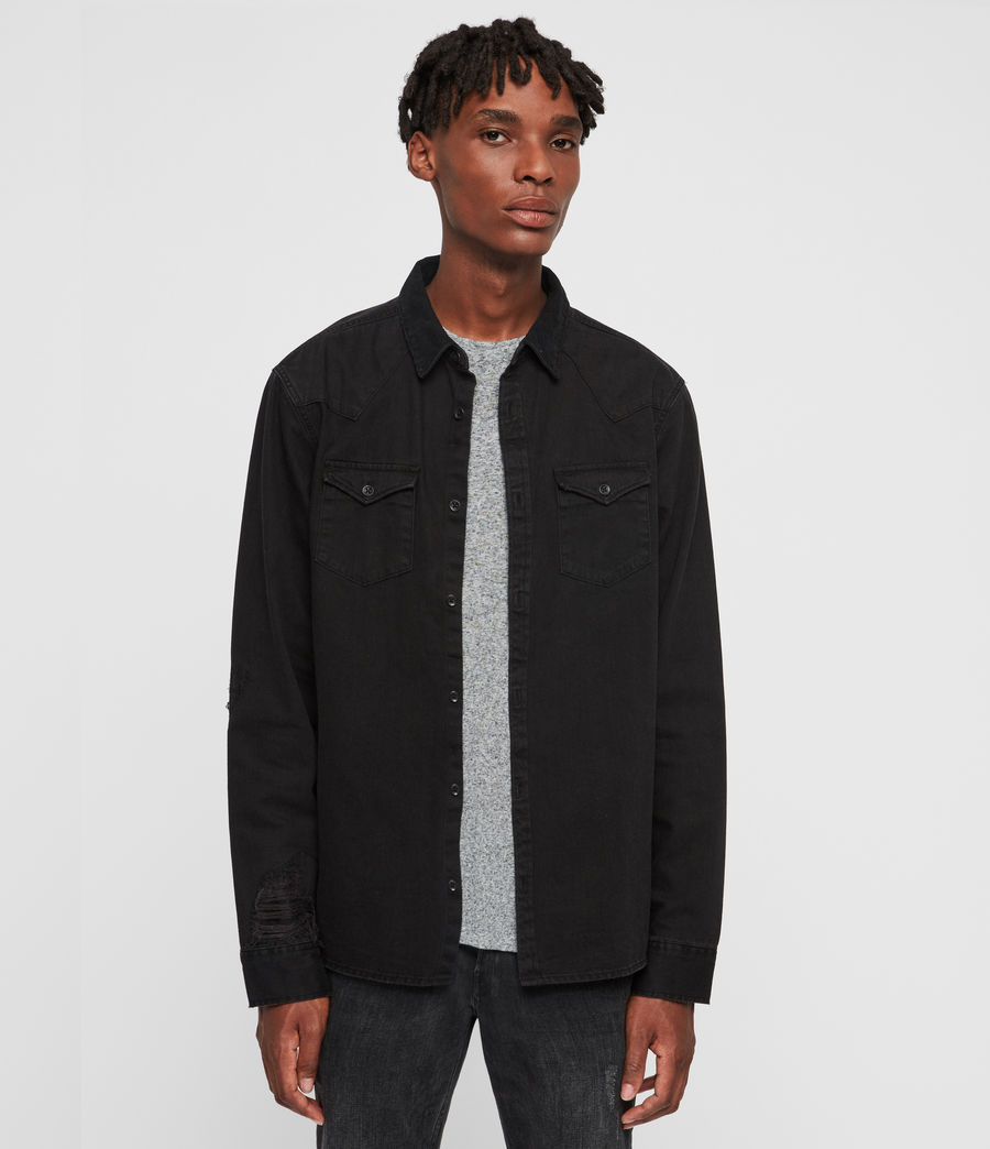 Mens Biso Denim Shirt (black) - Image 1