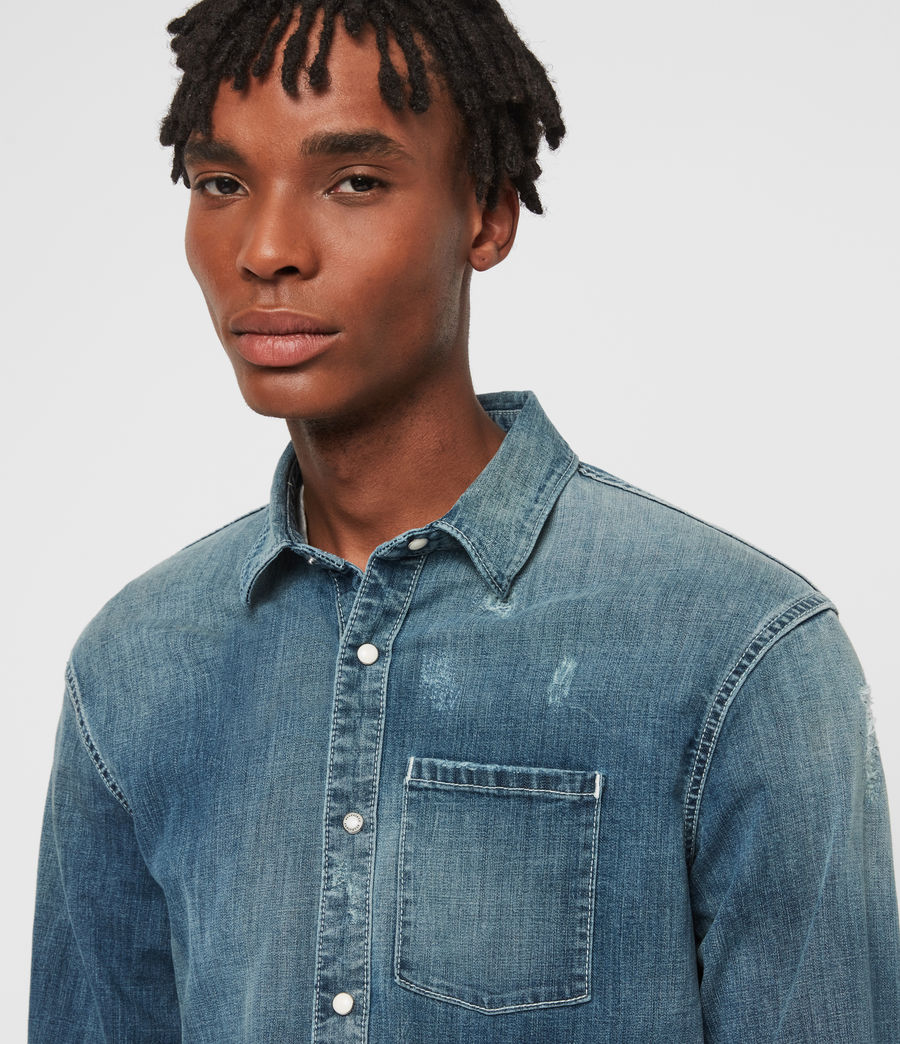 Mens Imcro Denim Shirt (indigo) - Image 2