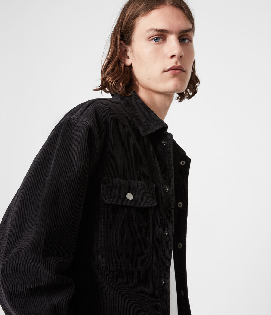Men's Castleford Corduroy Overshirt (black) - Image 4