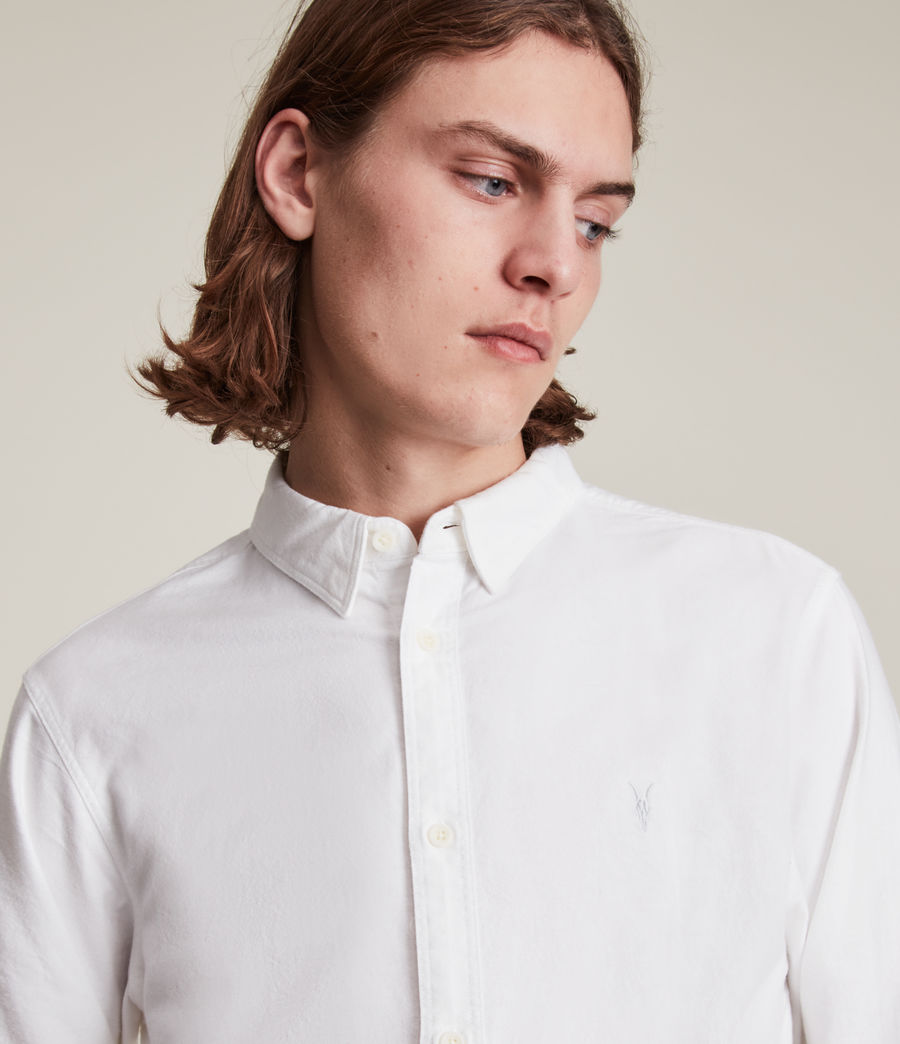 Mens Huntingdon Long Sleeve Shirt (white) - Image 4