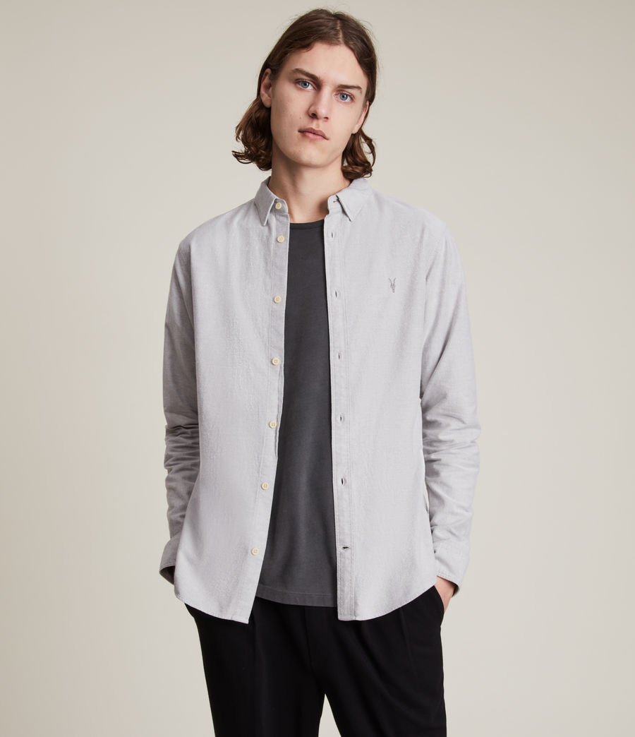 Mens Huntingdon Long Sleeve Shirt (dark_gull_grey) - Image 1