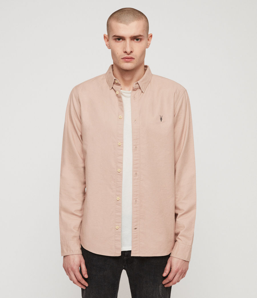 Mens Huntingdon Long Sleeve Shirt (mushroom_pink) - Image 1