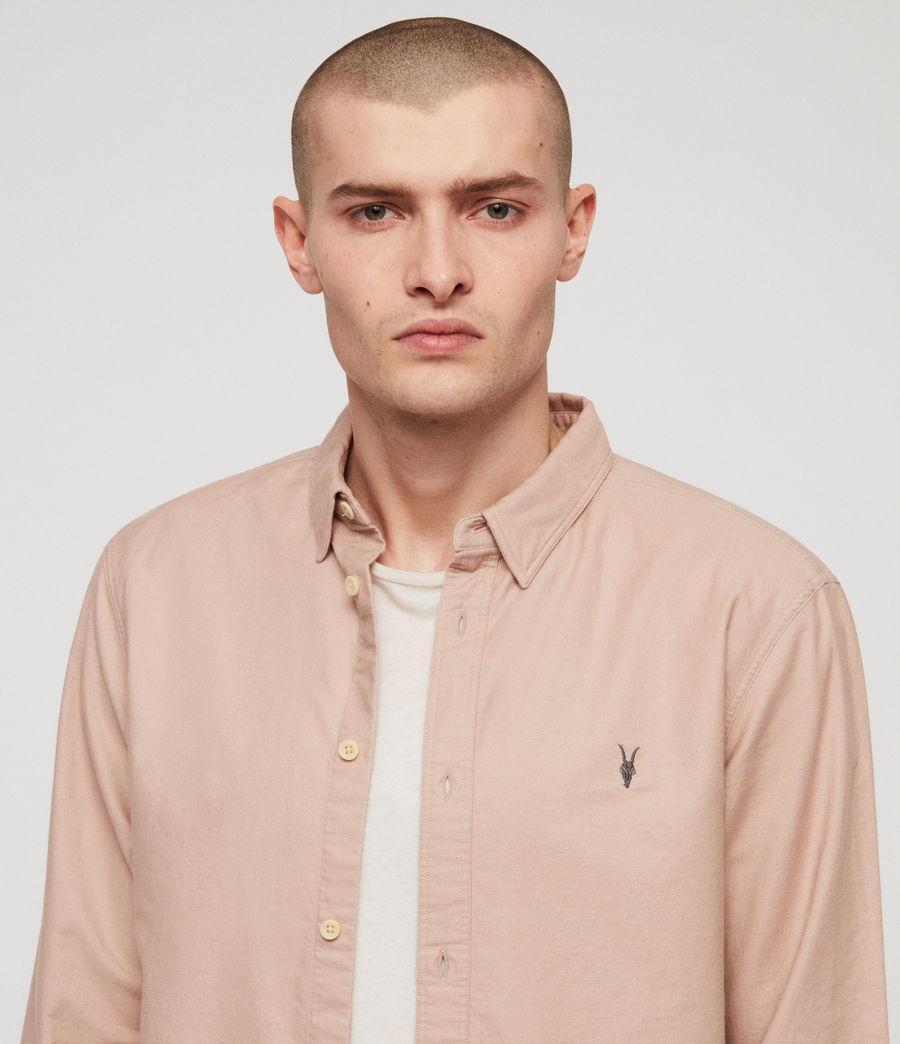 Mens Huntingdon Long Sleeve Shirt (mushroom_pink) - Image 2