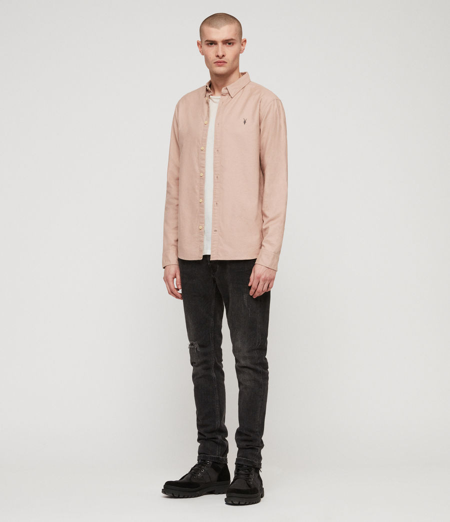 Mens Huntingdon Long Sleeve Shirt (mushroom_pink) - Image 3