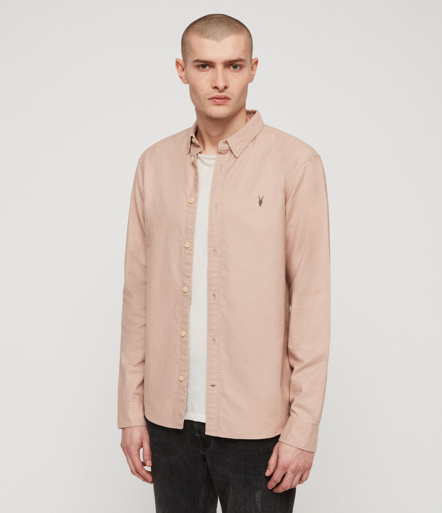 Mens Huntingdon Long Sleeve Shirt (mushroom_pink) - Image 4