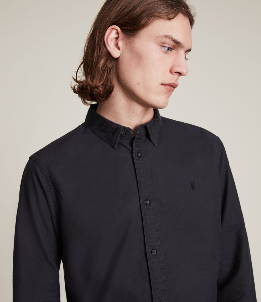 Mens Huntingdon Long Sleeve Shirt (black) - Image 6