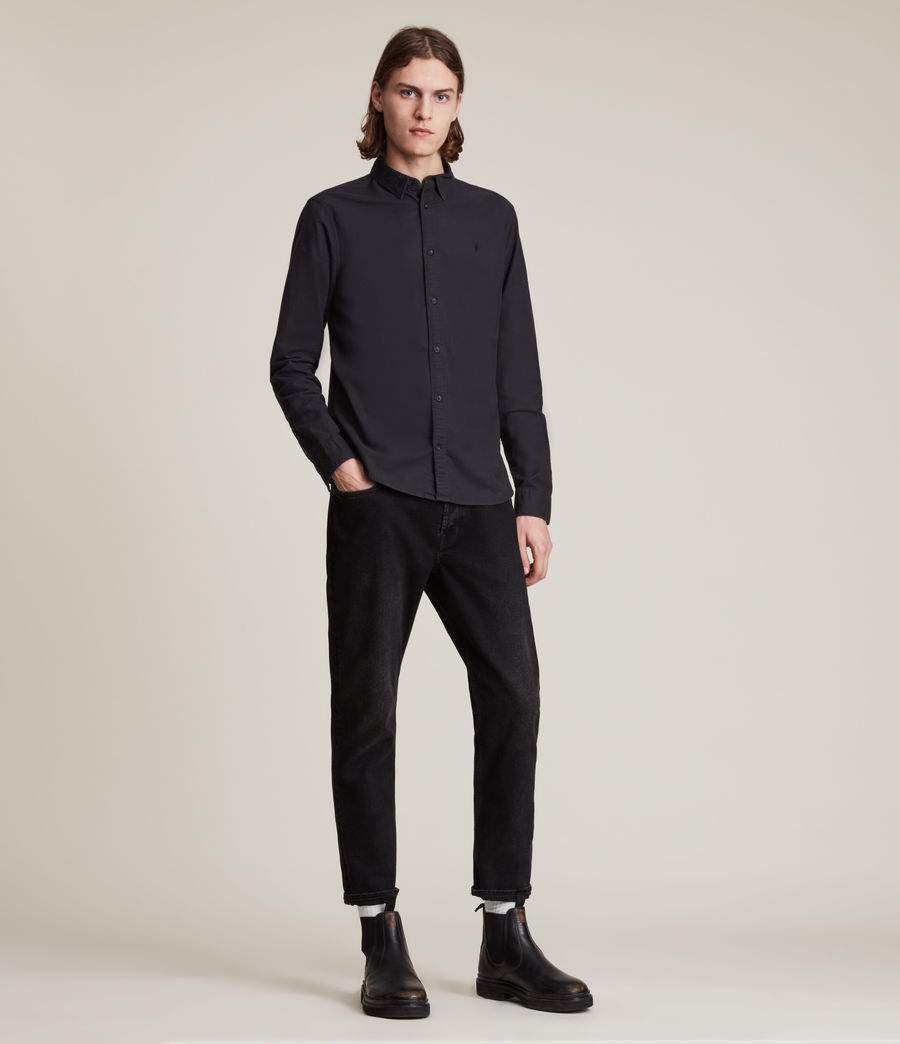 Mens Huntingdon Long Sleeve Shirt (black) - Image 7