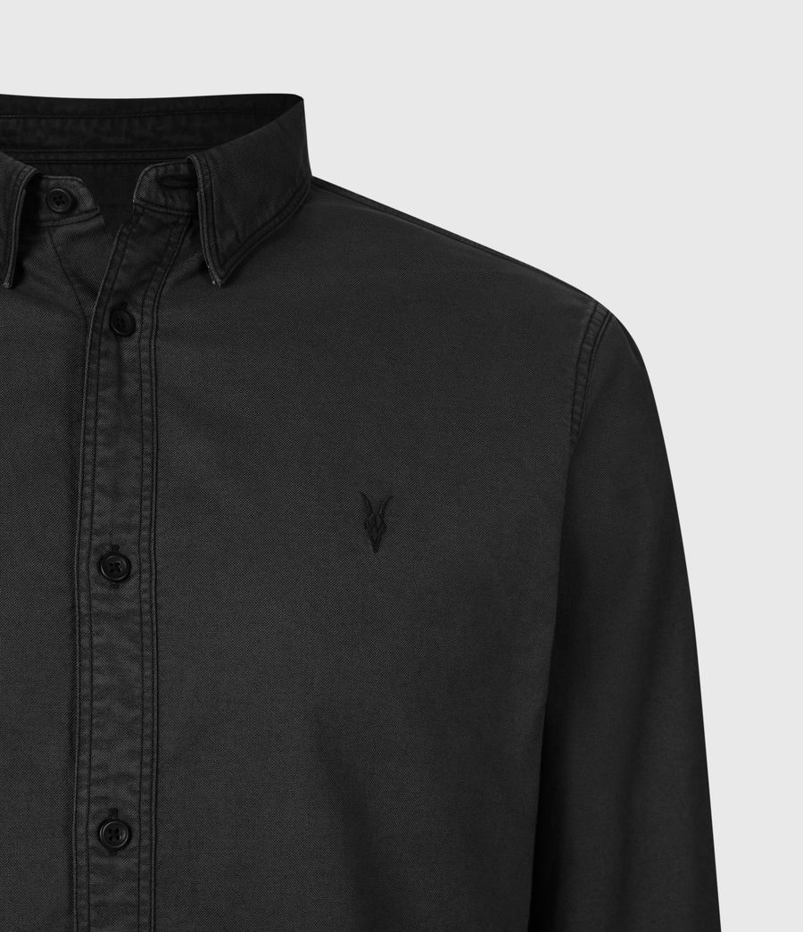 Mens Huntingdon Long Sleeve Shirt (black) - Image 5