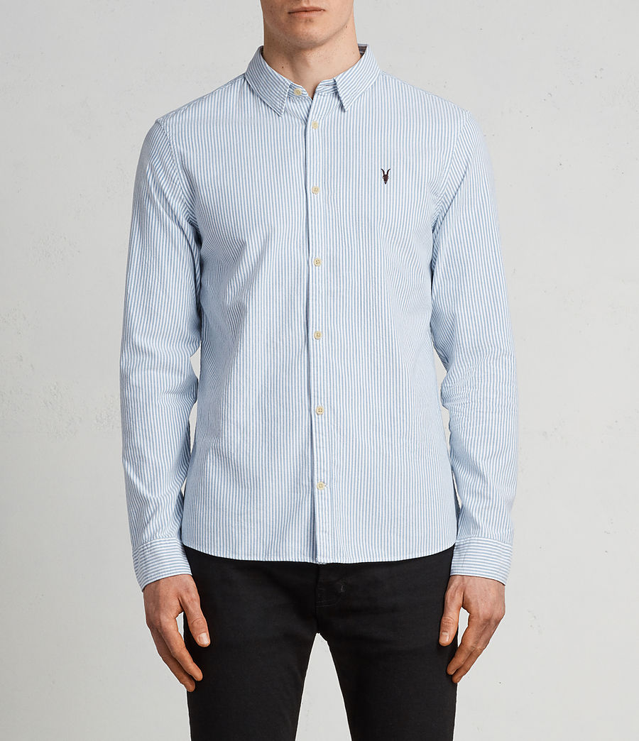 Men's Kilda Long Sleeve Shirt (Blue Stripe) - Image 1