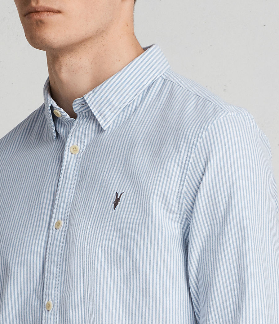 Men's Kilda Long Sleeve Shirt (Blue Stripe) - Image 2