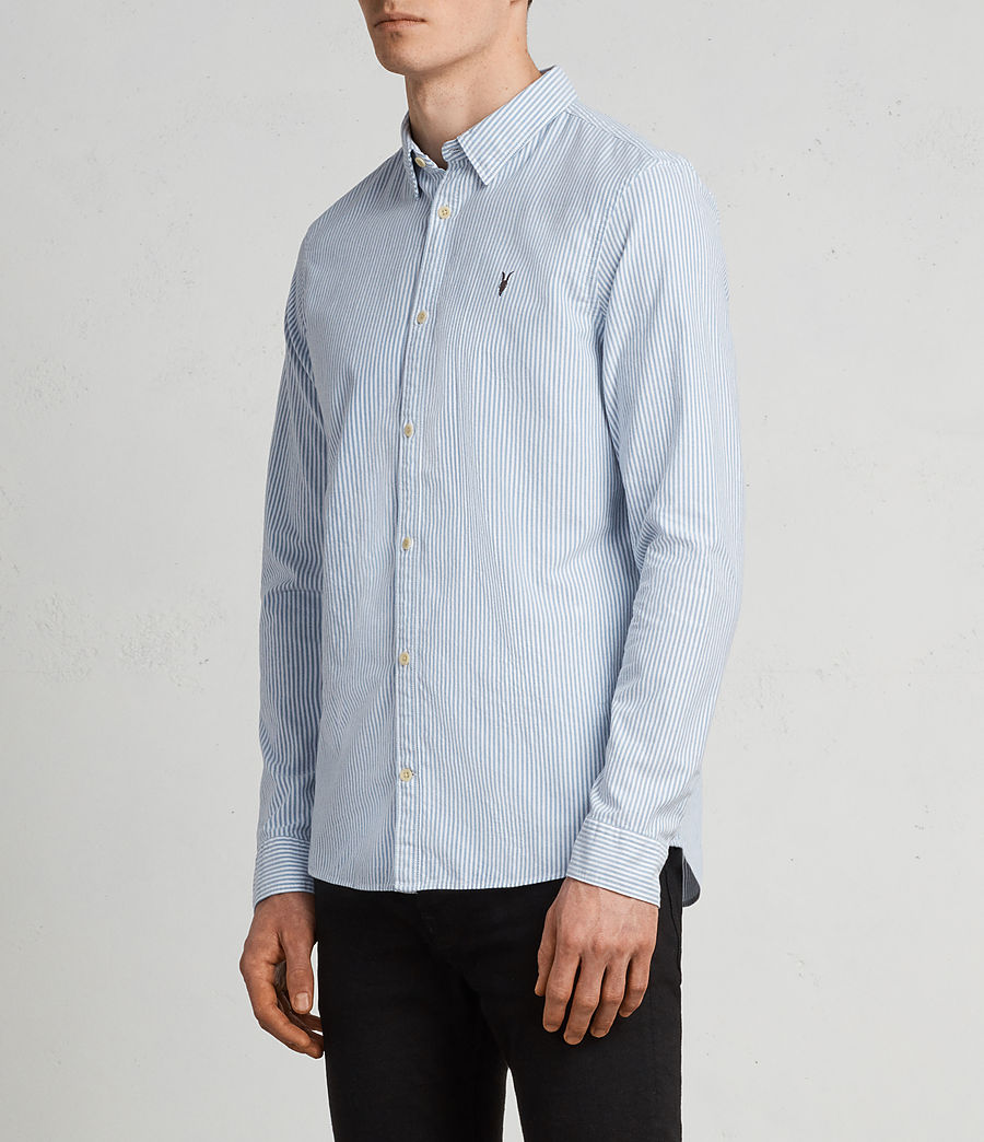 Men's Kilda Long Sleeve Shirt (Blue Stripe) - Image 3