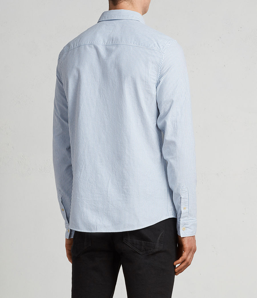 Men's Kilda Long Sleeve Shirt (Blue Stripe) - Image 4