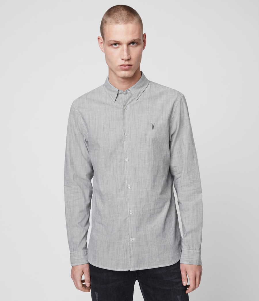 Hombres Camisa de Manga Larga Bedford (white_light_grey) - Image 1