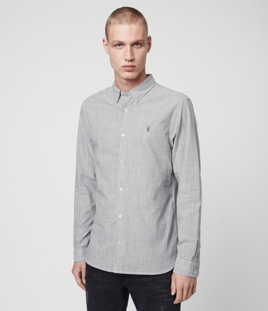 Hombres Camisa de Manga Larga Bedford (white_light_grey) - Image 3