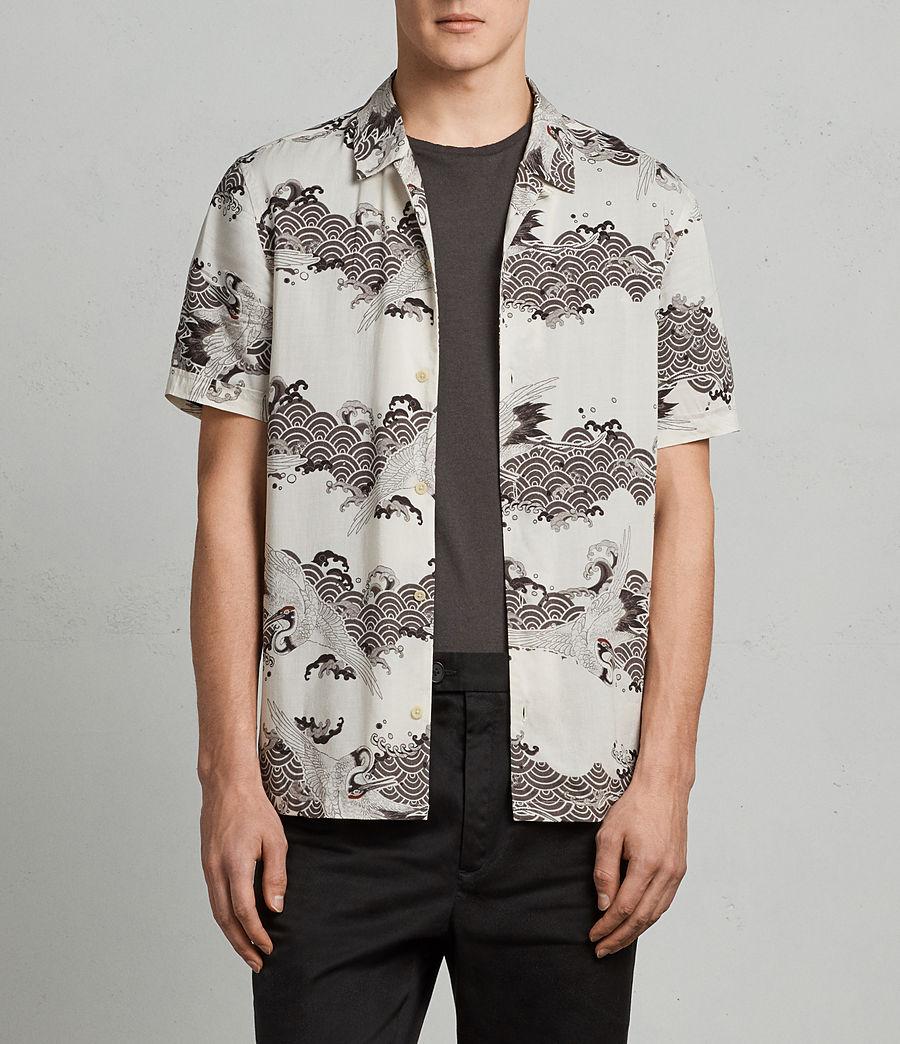 Mens Crane Hawaiian Shirt (ecru_white) - Image 1