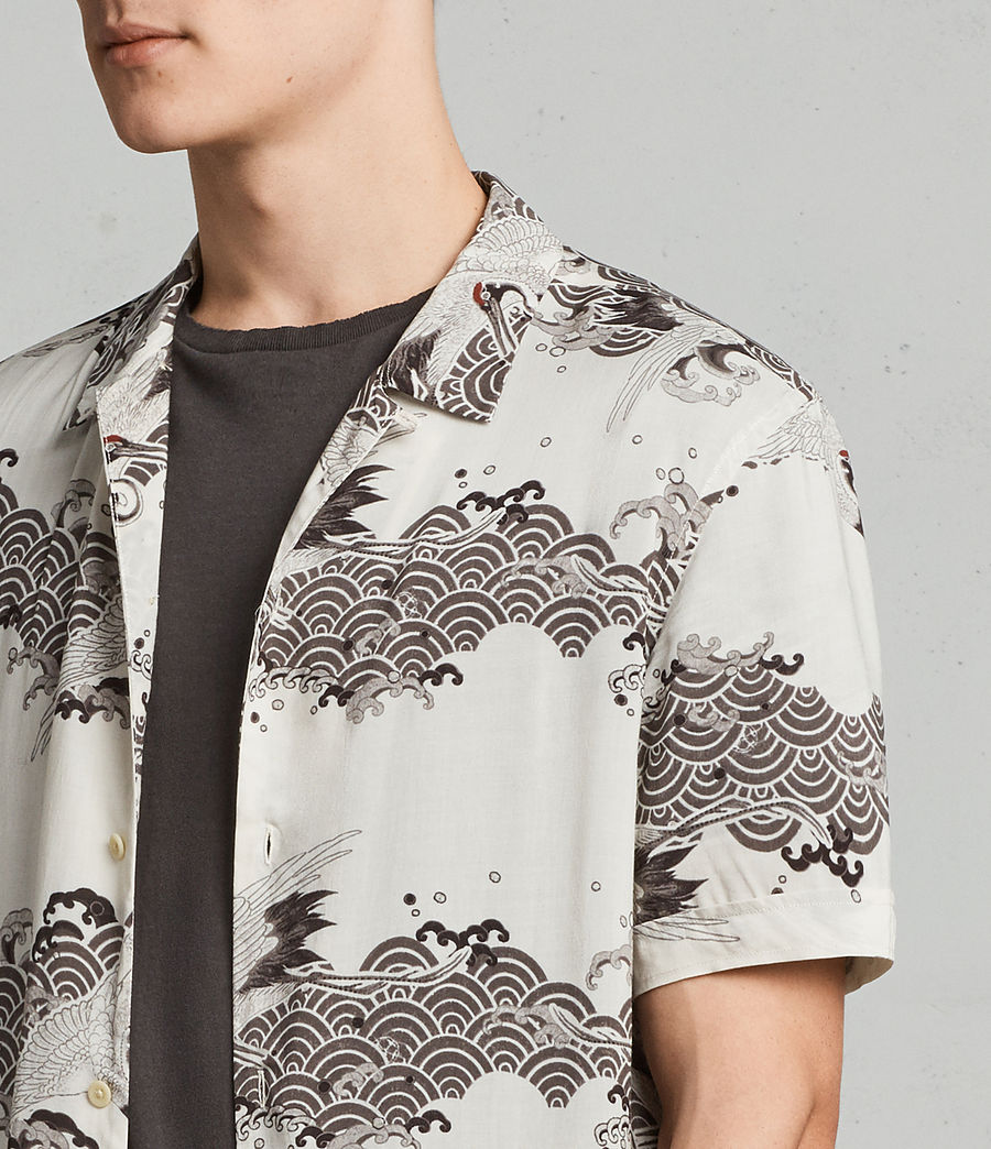 Mens Crane Hawaiian Shirt (ecru_white) - Image 2