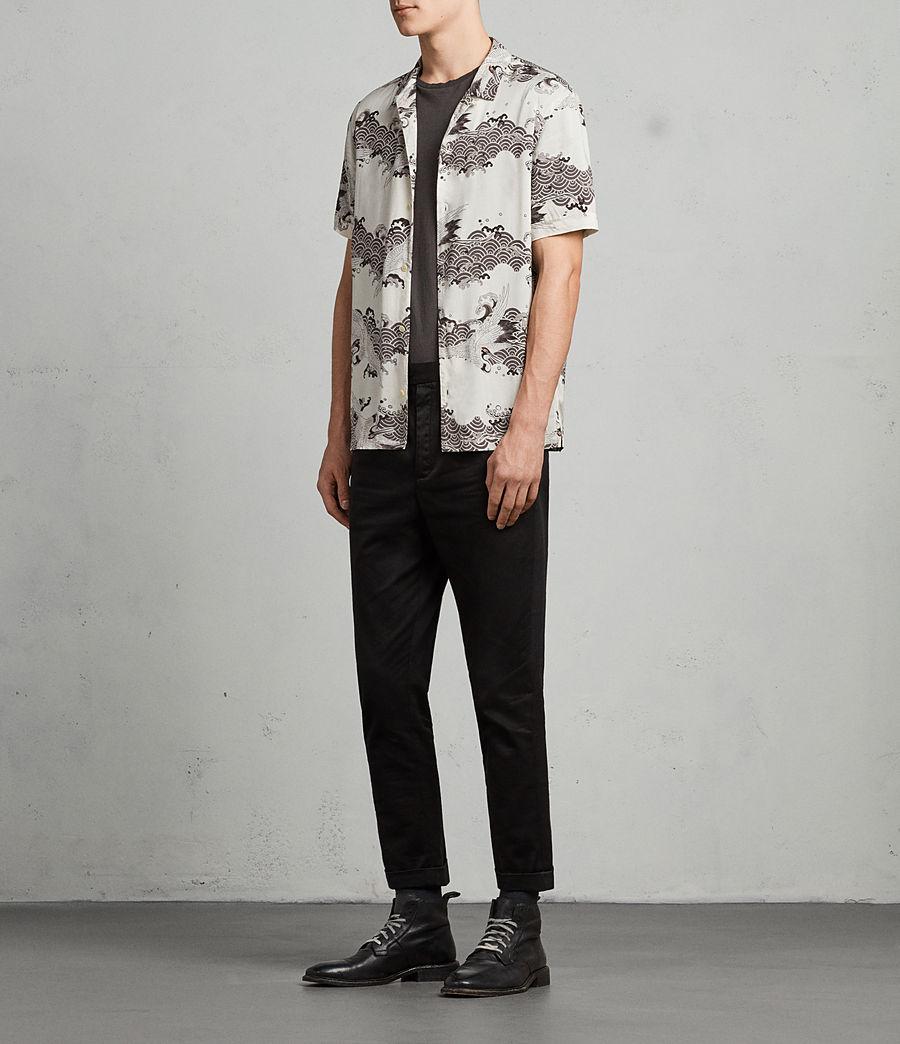 Mens Crane Hawaiian Shirt (ecru_white) - Image 3