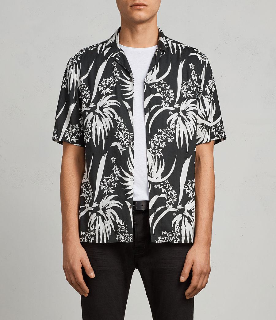 Men's Koloa Hawaiian Shirt (black_chalk_white) - Image 1