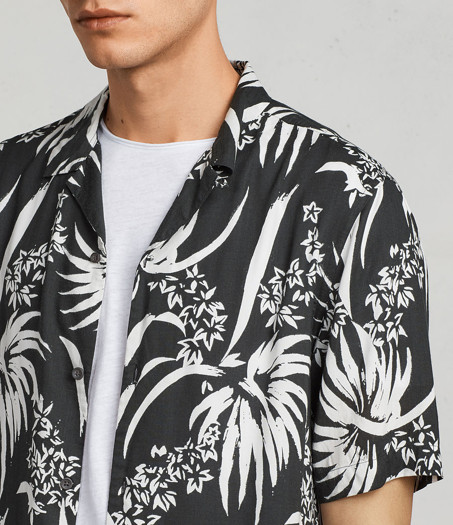 Men's Koloa Hawaiian Shirt (black_chalk_white) - Image 2