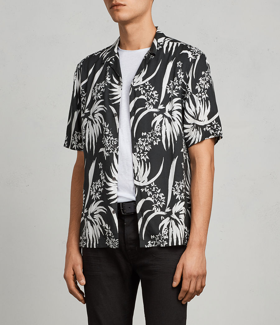 Men's Koloa Hawaiian Shirt (black_chalk_white) - Image 3
