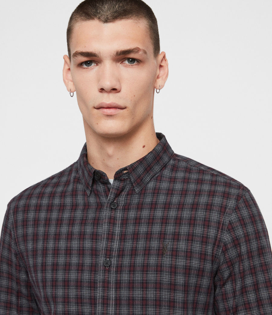 Mens Traxler Shirt (charcoal_oxblood) - Image 2