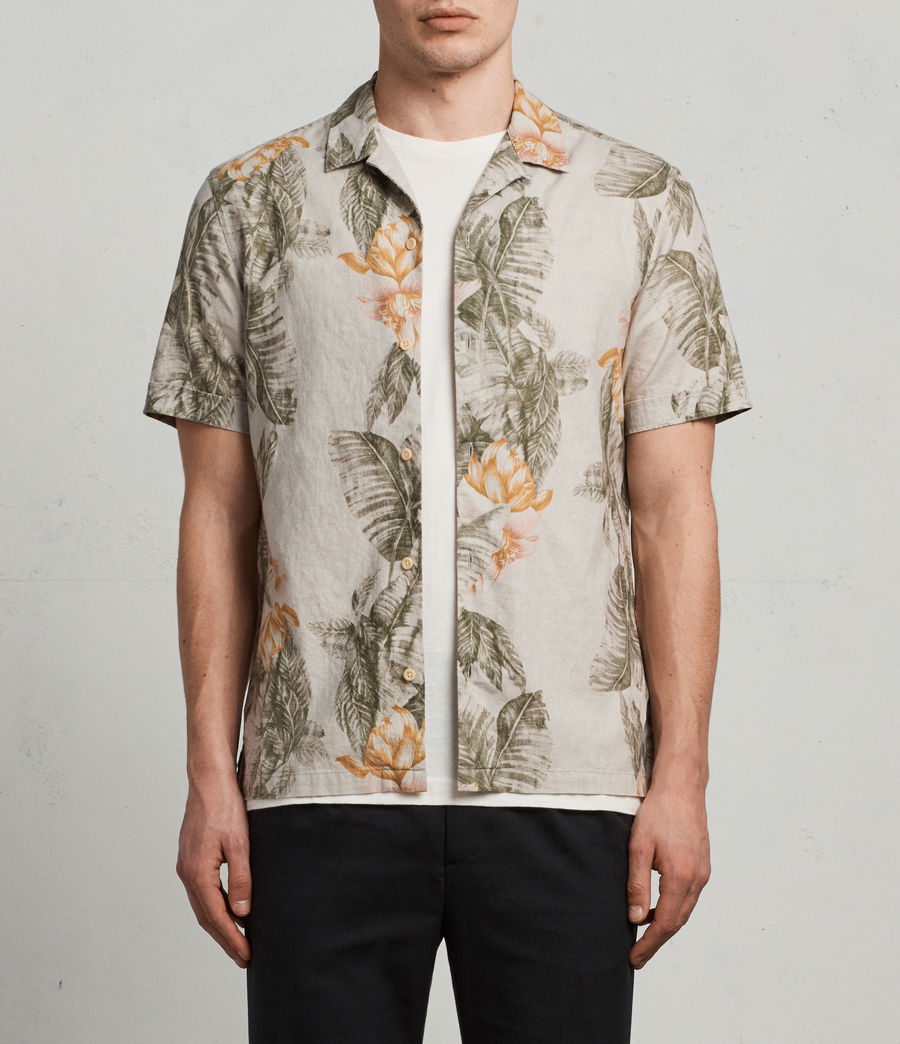 Men's Omao Hawaiian Shirt (ecru_white) - Image 3