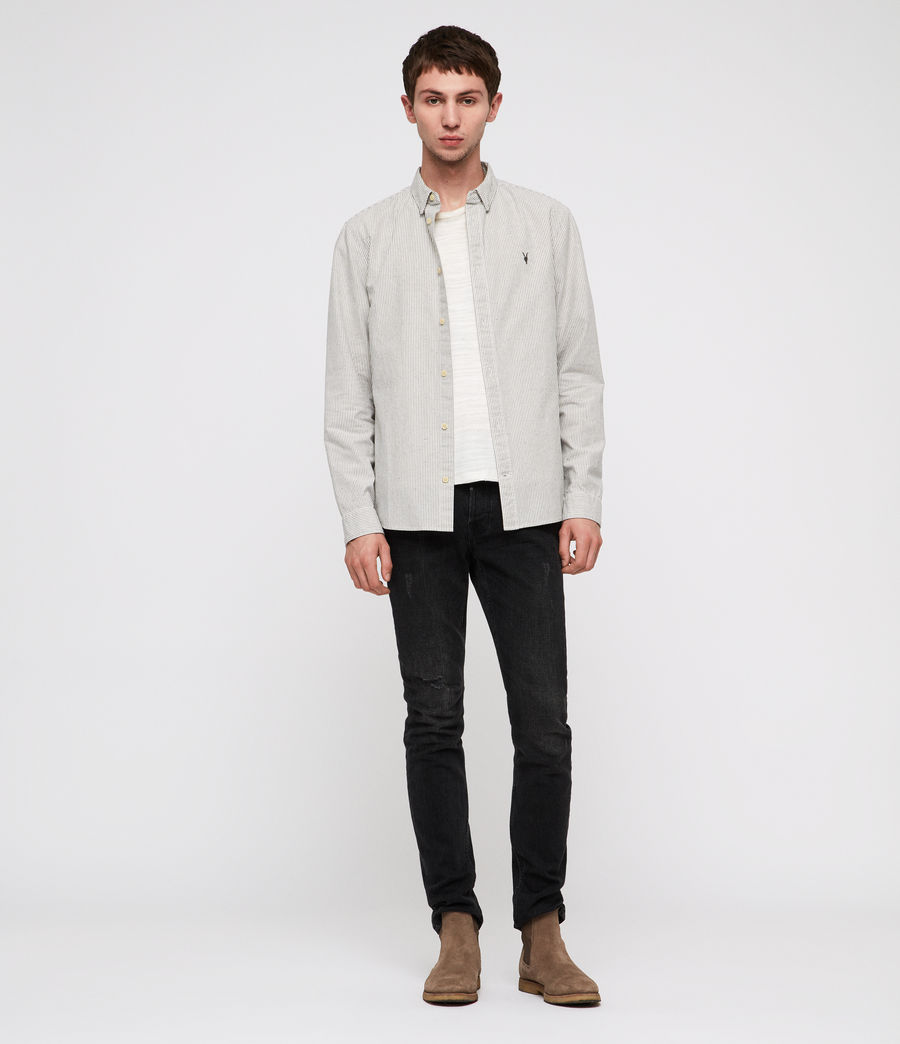 Men's Delmont Shirt (white_blue_stripe) - Image 3