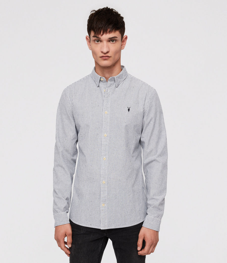 Men's Delmont Shirt (white_blue_stripe) - Image 1