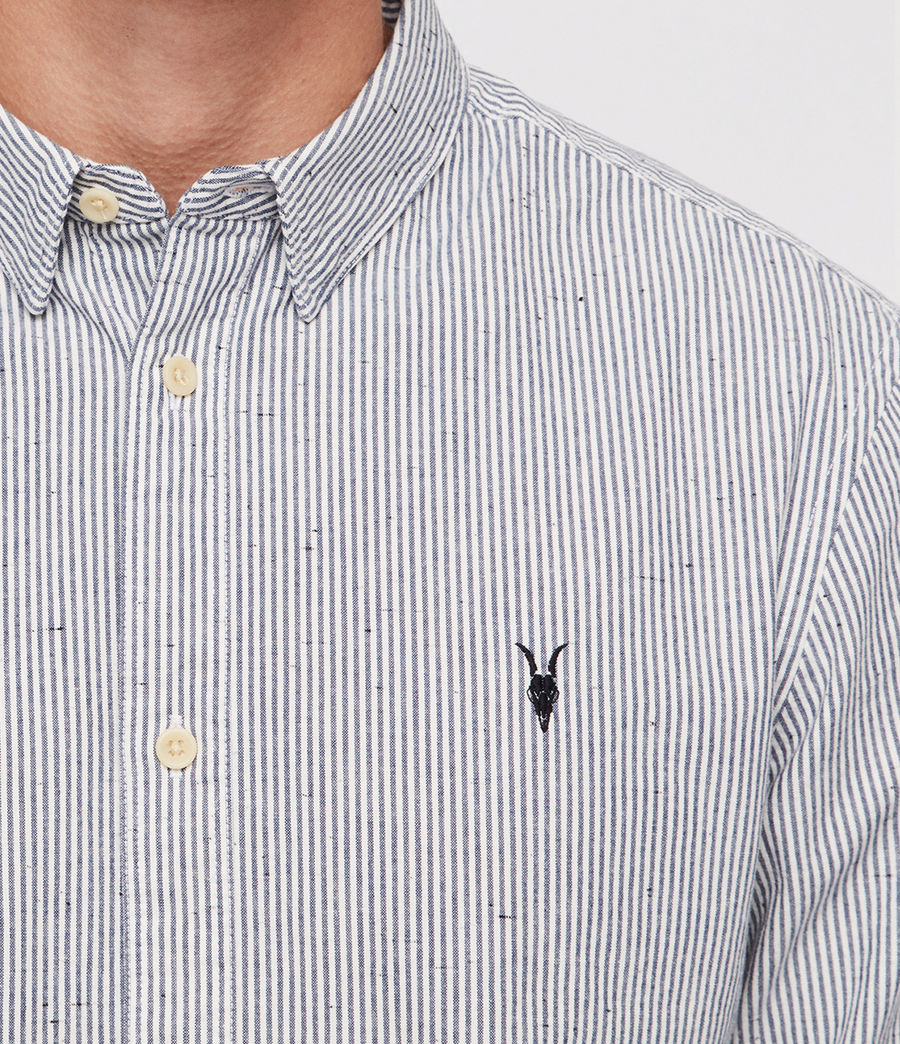 Men's Delmont Shirt (white_blue_stripe) - Image 2