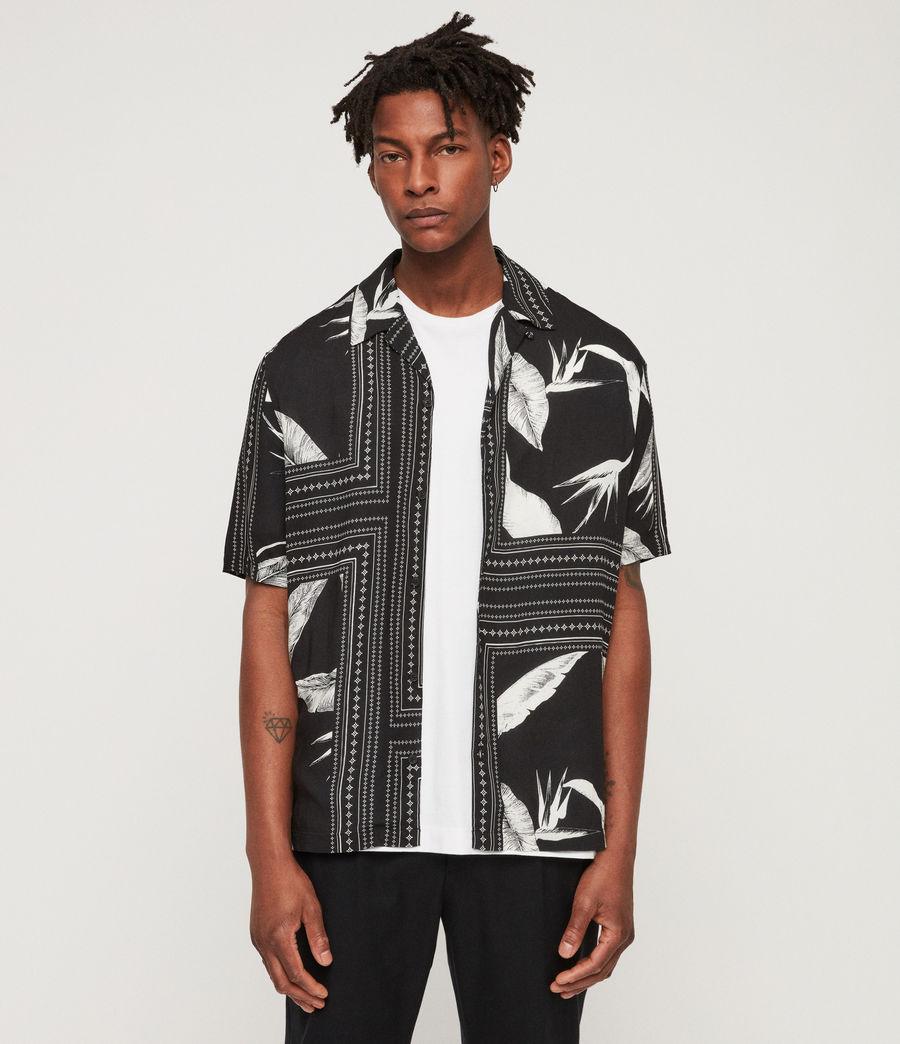 Men's Border Shirt (black_ecru_white) - Image 1