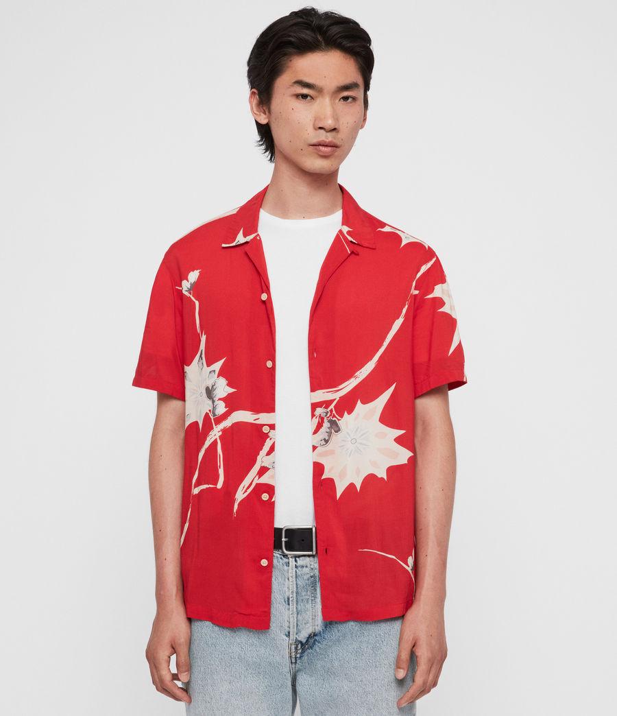 Hombres Camisa de Manga Corta Mokapu (tsuru_red) - Image 2