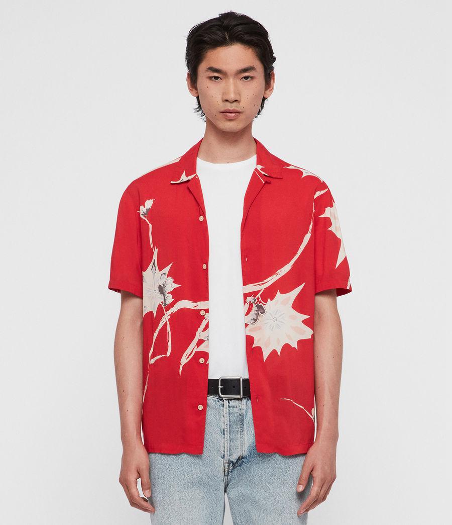 Hombres Camisa de Manga Corta Mokapu (tsuru_red) - Image 3