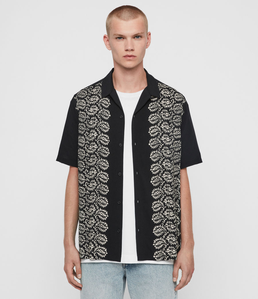 Men's Taro Shirt (jet_black_ecru) - Image 1