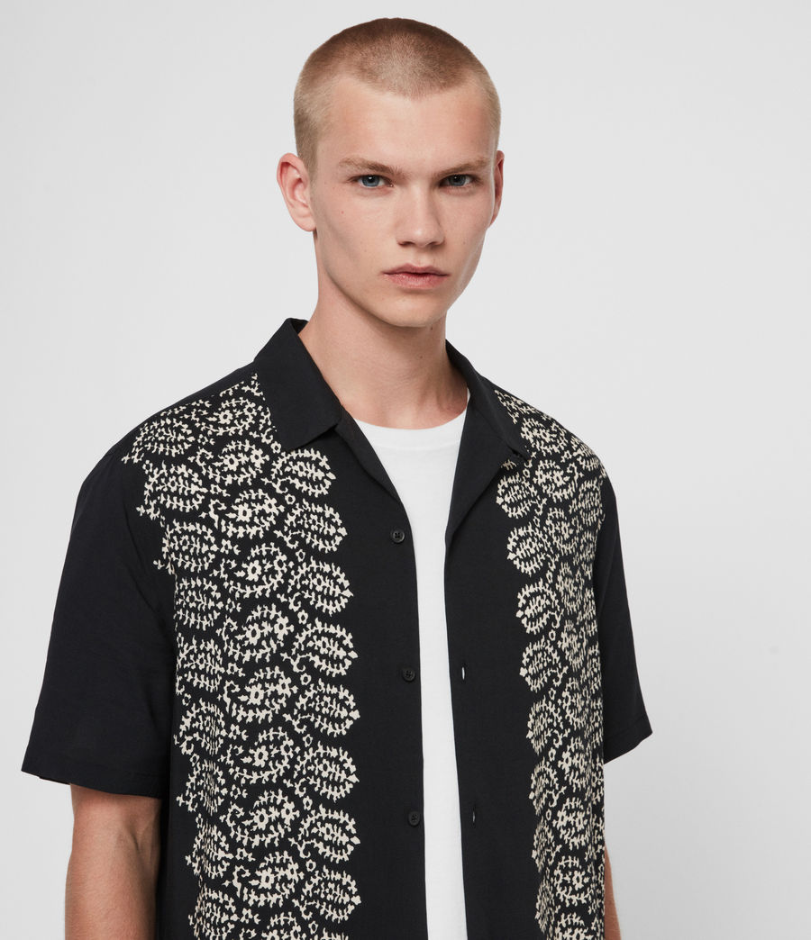 Men's Taro Shirt (jet_black_ecru) - Image 2