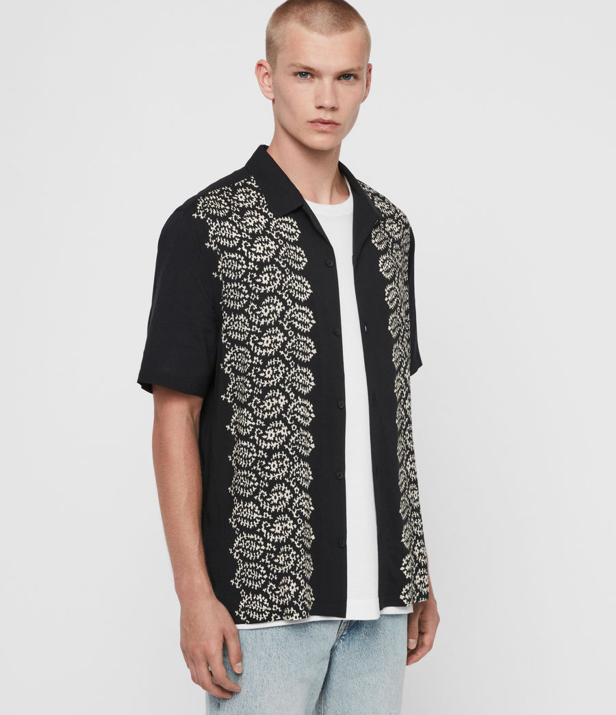 Men's Taro Shirt (jet_black_ecru) - Image 4