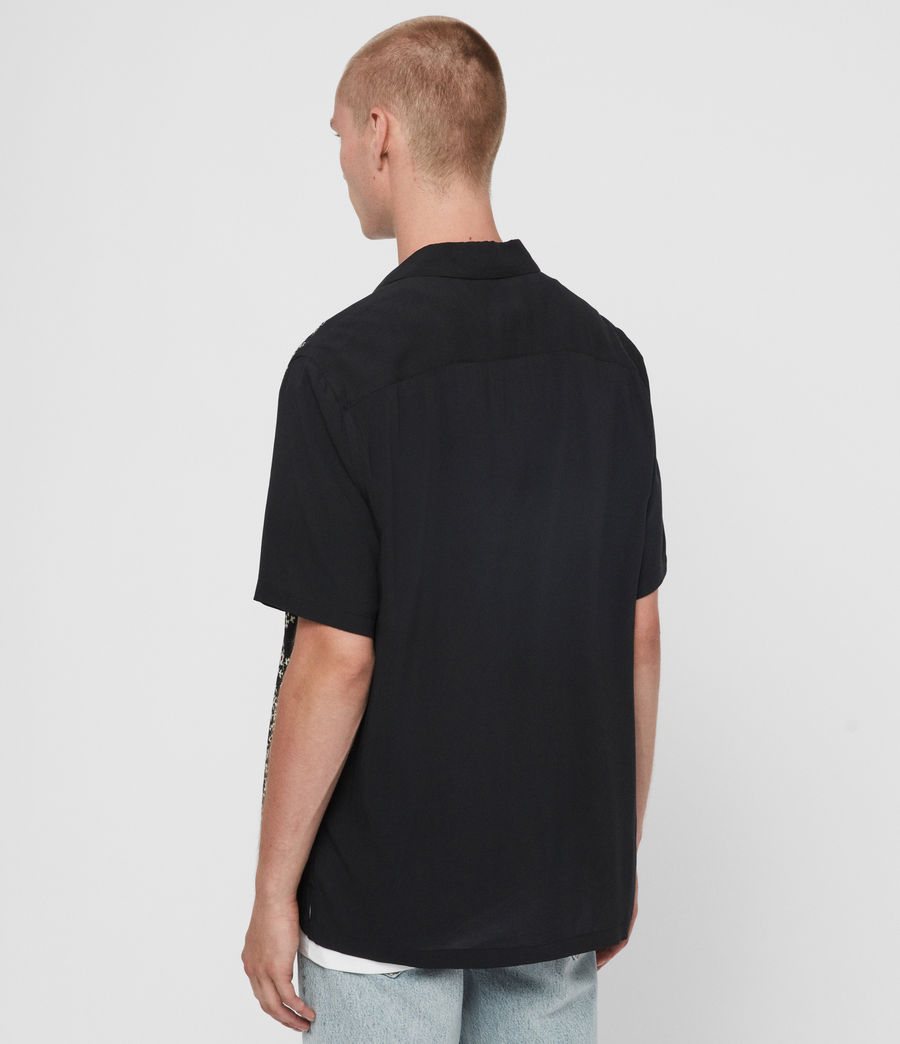 Men's Taro Shirt (jet_black_ecru) - Image 5