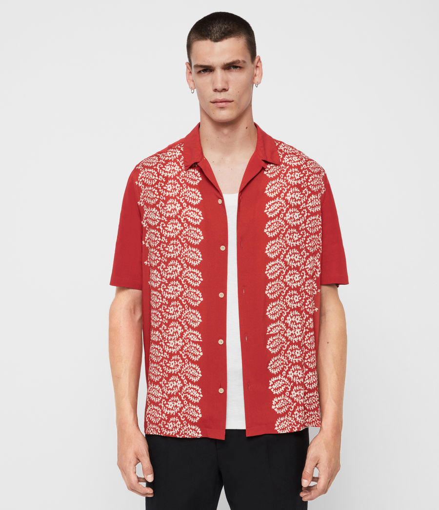 Mens Taro Shirt (brick_red_ecru) - Image 1