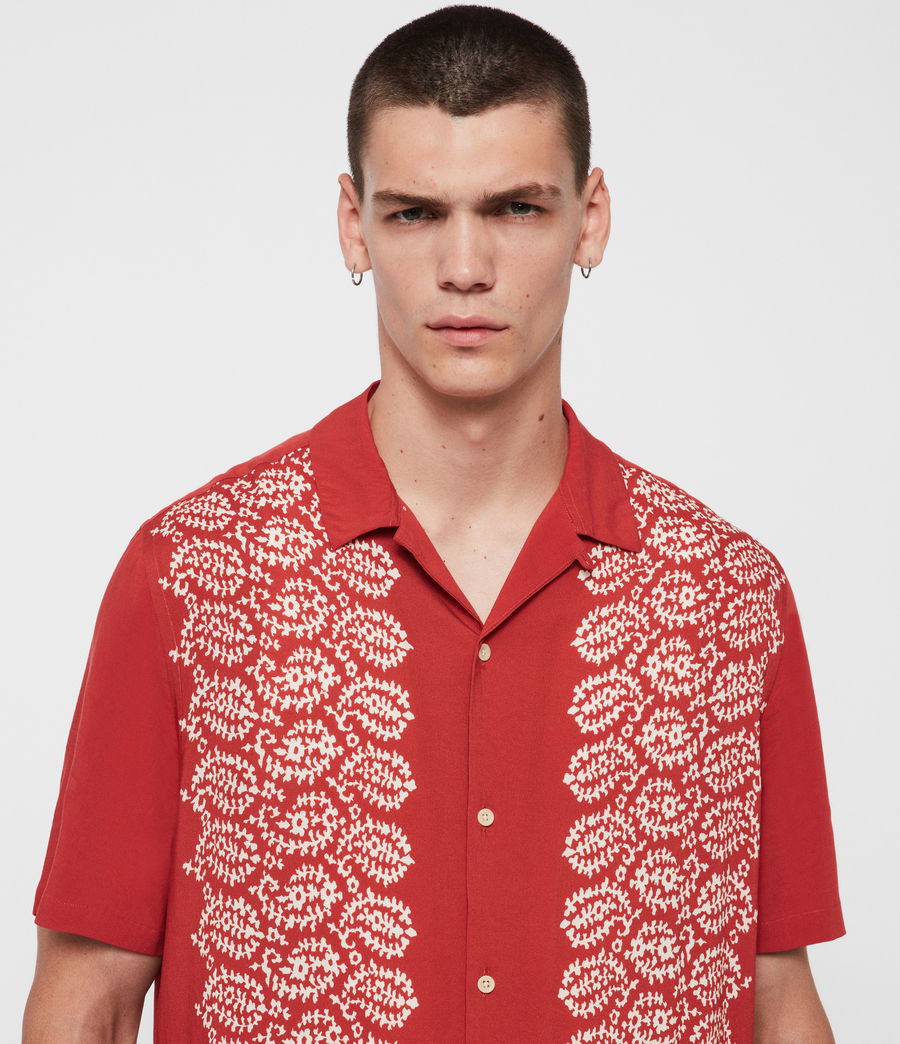 Mens Taro Shirt (brick_red_ecru) - Image 2