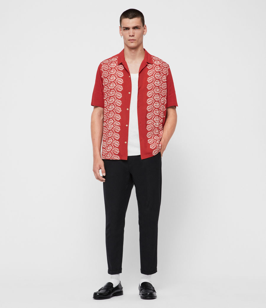 Mens Taro Shirt (brick_red_ecru) - Image 3