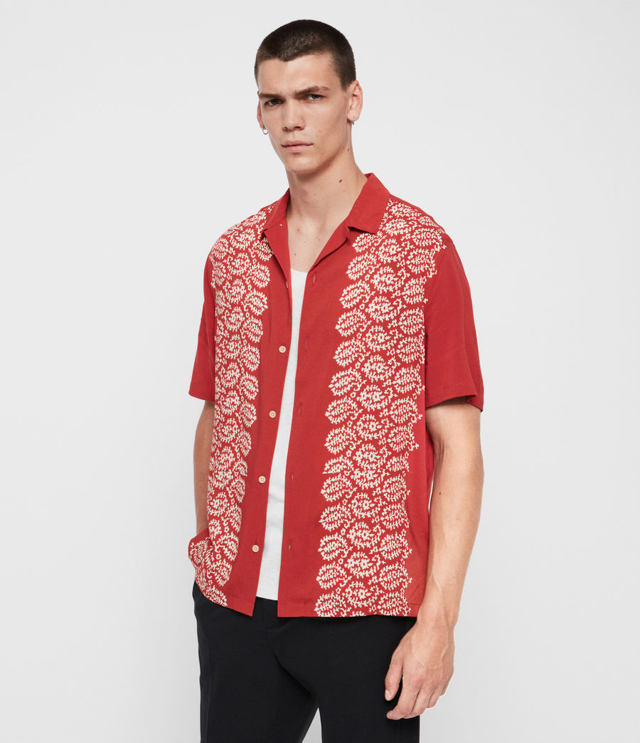 Mens Taro Shirt (brick_red_ecru) - Image 4