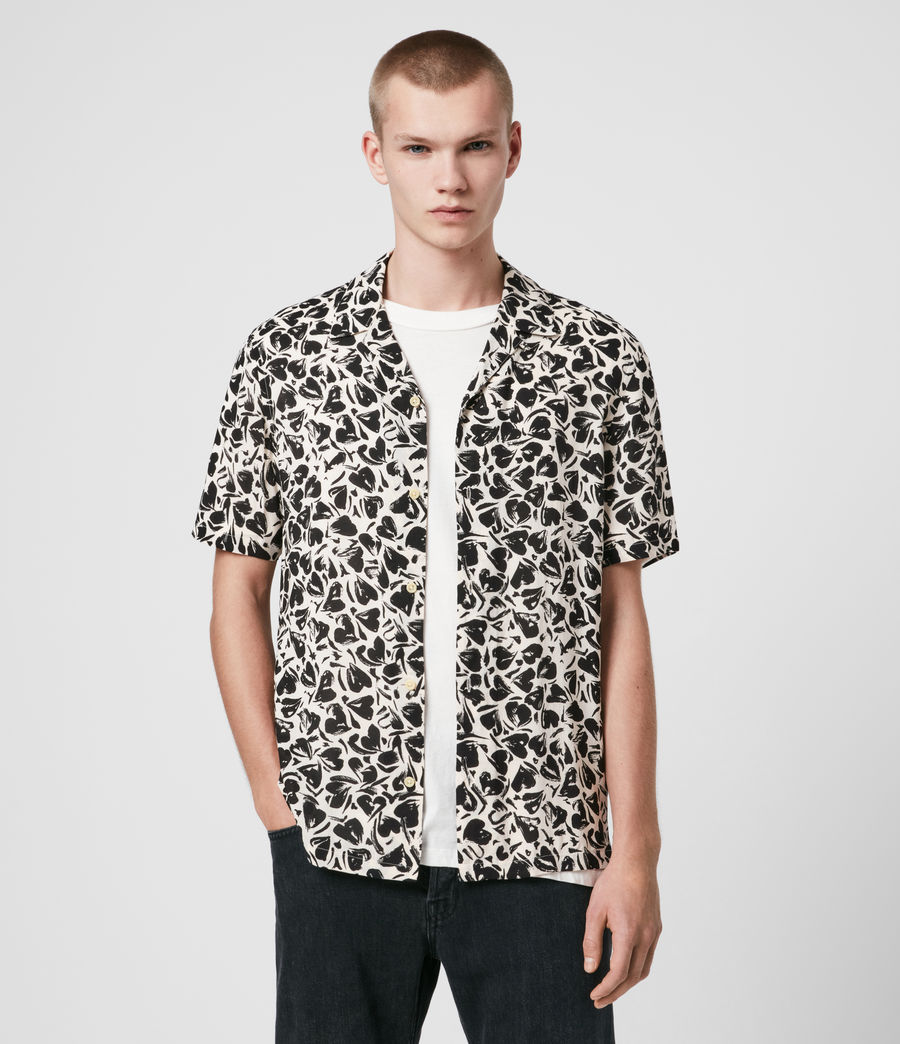 Men's Heartbreak Short Sleeve Shirt (ecru_jet_black) - Image 1