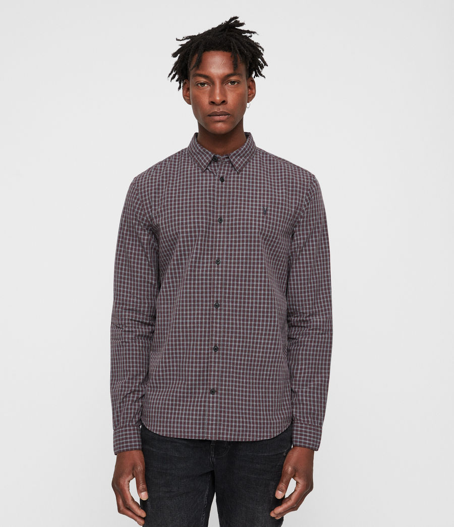 Men's Murdo Shirt (oxblood_grey) - Image 1