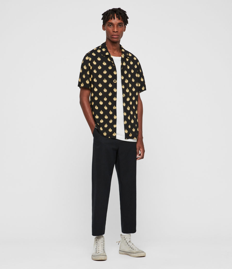Uomo Camicia Candlelight - Slim a pois (jet_black_yellow) - Image 3