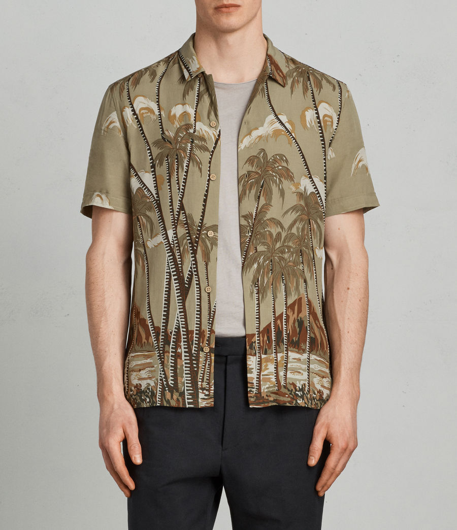 Men's Nalu Hawaiian Shirt (khaki) - Image 1